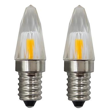 3 واط أدى الكريستال شمعة المصابيح e14 قاعدة 1505 cob smd للمنزل الإضاءة الجدار ضوء داخلي ac 110 فولت 120 فولت دافئ / الباردة الأبيض (2 قطع)