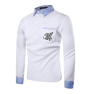 رجالي بولو ستايل قبعة القميص - عتيق / رياضي Active لون سادة أبيض M / كم طويل