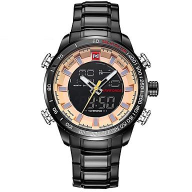Χαμηλού Κόστους Ανδρικά ρολόγια-NAVIFORCE Ανδρικά Αθλητικό Ρολόι Στρατιωτικό Ρολόι Ψηφιακό ρολόι Ιαπωνικά Γιαπωνέζικο Quartz Ανοξείδωτο Ατσάλι Μαύρο / Μπλε / Ασημί 30 m Ανθεκτικό στο Νερό Συναγερμός Ημερολόγιο Αναλογικό Ψηφιακό
