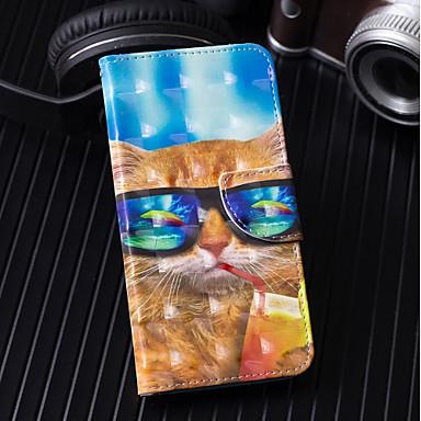 غطاء من أجل Samsung Galaxy A6 (2018) / A6+ (2018) / A3 (2017) محفظة / حامل البطاقات / مع حامل غطاء كامل للجسم قطة قاسي جلد PU