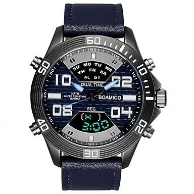 رجالي ساعة رياضية ساعة رقمية ياباني رقمي جلد طبيعي أسود / أزرق / رمادي 30 m مقاوم للماء رزنامه الكرونوغراف تناظري-رقمي ترف موضة - رمادي كوفي أزرق سنتان عمر البطارية / طرد كبير