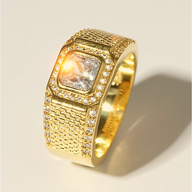Bărbați Clasic Stl Radiant Cut Inel Diamante Artificiale Prețios Lux Clasic Modă Inele la Modă Bijuterii Auriu Pentru Nuntă Serată Mascaradă Petrecere Logodnă Bal Dată 7 / 8 / 9 / 10 / 11