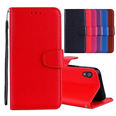 voordelige Hoesjes / covers voor Sony-hoesje Voor Sony Sony Xperia L1 Kaarthouder / met standaard / Flip Volledig hoesje Effen Hard PU-nahka