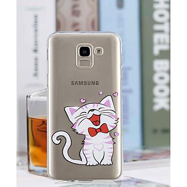 voordelige Galaxy J-serie hoesjes / covers-hoesje Voor Samsung Galaxy J8 / J7 (2017) / J6 Transparant / Patroon Achterkant Kat Zacht TPU