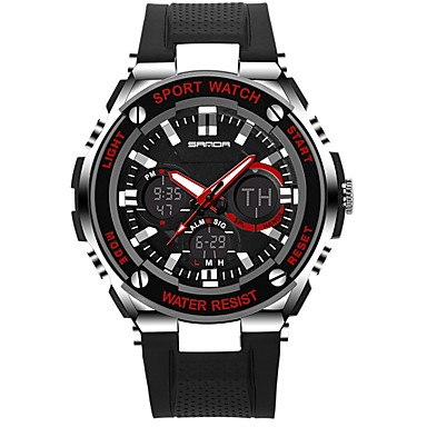 SANDA رجالي ساعة رياضية ساعة رقمية ياباني رقمي سيليكون أسود 30 m مقاوم للماء رزنامه ساعة التوقف تناظري-رقمي ترف موضة - أسود-أحمر أسود وذهبي أسود / أزرق / قضية