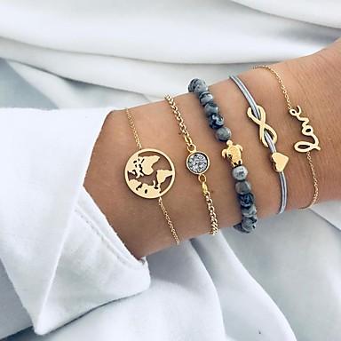 Women's Stylish Plaited Chain Bracelet Strand Bracelet - Rhinestone Maps, Sweet Heart Fashion, Elegant Bracelet Gold For Daily Going out / 5pcs