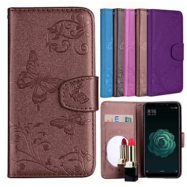 غطاء من أجل Xiaomi Xiaomi Mi 5X حامل البطاقات / مع حامل / نموذج غطاء كامل للجسم فراشة / زهور قاسي جلد PU
