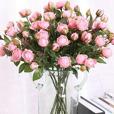 Künstliche Blumen 3 Ast Klassisch Einzelbett(150 x 200 cm) Stilvoll Pastoralen Stil Rosen Tisch-Blumen