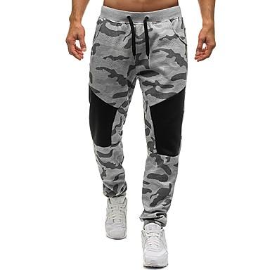 billige Herrers Mode Beklædning-Herre Basale Bomuld Løstsiddende Joggingbukser Bukser - Farveblok / camouflage Sort