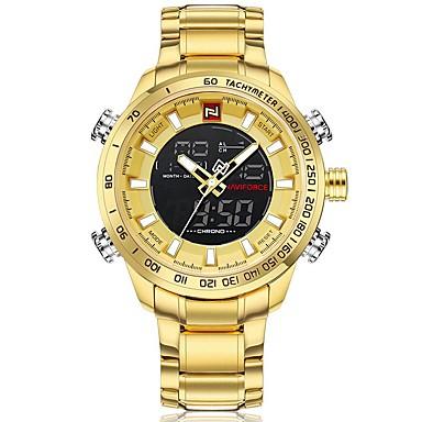 levne Pánské-NAVIFORCE Pánské Sportovní hodinky Vojenské hodinky Digitální hodinky japonština Japonské Quartz Nerez Černá / Modrá / Stříbro 30 m Voděodolné Alarm Kalendář Analogové Digitální Luxus Módní - Bíl