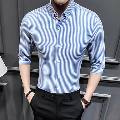 economico Abbigliamento uomo-Camicia Per uomo A strisce / Monocolore Colletto classico Rosso XXXL / Estate / Taglia piccola