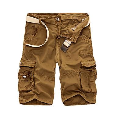billige Herrers Mode Beklædning-Herre Basale Chinos / Shorts / Lastbukser Bukser - Ensfarvet Army Grøn / Forår / Sommer