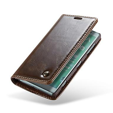 voordelige Hoesjes / covers voor Sony-hoesje Voor Sony Xperia XZ2 Compact Portemonnee / Kaarthouder / Flip Volledig hoesje Effen Hard aitoa nahkaa