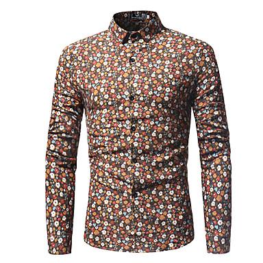 economico Abbigliamento uomo-Camicia Per uomo Con stampe, Fantasia geometrica / Monocolore Cotone Blu XL