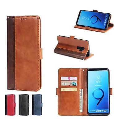 Недорогие Чехлы и кейсы для Galaxy S6-Кейс для Назначение SSamsung Galaxy S9 / S9 Plus / S8 Plus Кошелек / Бумажник для карт / со стендом Чехол Плитка Твердый Кожа PU