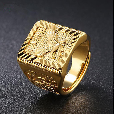 cheap Men's Rings-Men's Stylish Engraved Signet Ring 18K Gold Eagle family crest Asian Fashion Hip Hop Ring Jewelry Gold For Daily Evening Party Adjustable