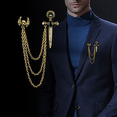 ieftine Broșe-Bărbați Zirconiu Cubic Broșe Stl Link / Lanț Σταυρός Craniu Declarație Modă Englezesc Broșă Bijuterii Auriu Argintiu Pentru Zilnic Concediu