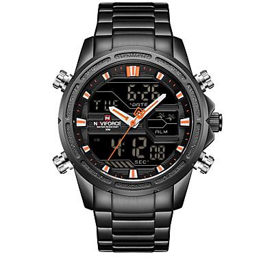 Χαμηλού Κόστους Ανδρικά ρολόγια-NAVIFORCE Ανδρικά Αθλητικό Ρολόι Στρατιωτικό Ρολόι Ψηφιακό ρολόι Ιαπωνικά Γιαπωνέζικο Quartz Ανοξείδωτο Ατσάλι Μαύρο / Μπλε / Χρυσό 30 m Συναγερμός Ημερολόγιο Χρονογράφος Αναλογικό-Ψηφιακό