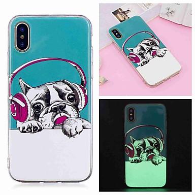 voordelige iPhone 5 hoesjes-hoesje Voor Apple iPhone XS / iPhone XR / iPhone XS Max Glow in the dark / Patroon Achterkant Hond Zacht TPU