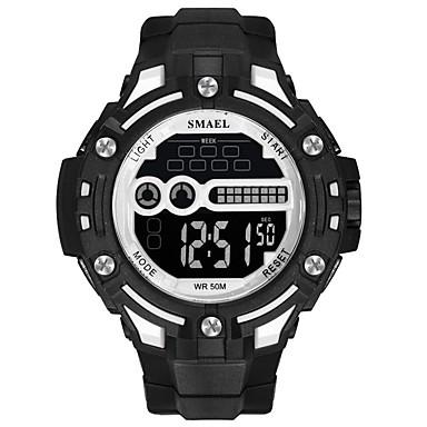 זול שעוני גברים-SMAEL בגדי ריקוד גברים שעוני ספורט שעון דיגיטלי Japanese דיגיטלי שחור 50 m עמיד במים לוח שנה זוהר בחושך דיגיטלי אופנתי - שחור / אדום שחור / לבן