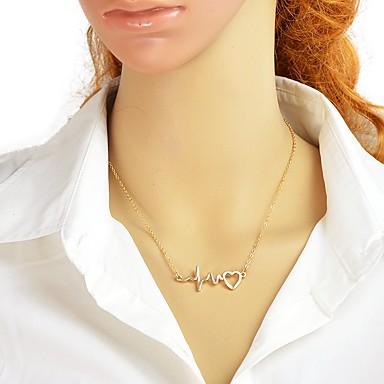 billige Mode Halskæde-Dame Enlig Snor Halskædevedhæng Hjerte Heldig hjerteslag Damer Simple Mode Heart Guld Sort Sølv 44.5 cm Halskæder Smykker 1pc Til Fest / aften Skole