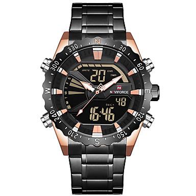 Недорогие Часы на металлическом ремешке-NAVIFORCE Муж. Спортивные часы Армейские часы электронные часы Японский Японский кварц Нержавеющая сталь Черный / Серебристый металл 30 m Будильник Секундомер С двумя часовыми поясами Аналого-цифровые