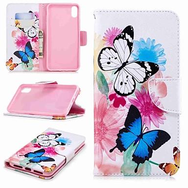 غطاء من أجل Apple iPhone XS / iPhone XR / iPhone XS Max محفظة / حامل البطاقات / مع حامل غطاء كامل للجسم فراشة قاسي جلد PU