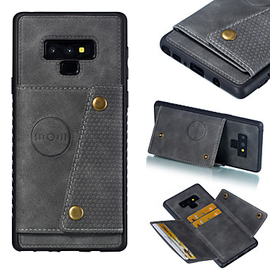 voordelige Galaxy Note-serie hoesjes / covers-hoesje Voor Samsung Galaxy S9 / S9 Plus / S8 Plus Kaarthouder / Schokbestendig Achterkant Effen Hard PU-nahka