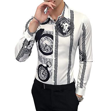 economico Abbigliamento uomo-Camicia Per uomo Ufficio Vintage Animali / Tribale Colletto classico Bianco XXL / Manica lunga / Autunno / Inverno / Taglia piccola