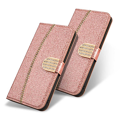 غطاء من أجل Samsung Galaxy Note 9 / Note 8 محفظة / حامل البطاقات / مع حامل غطاء كامل للجسم فراشة / بريق لماع / حجر الراين قاسي جلد PU