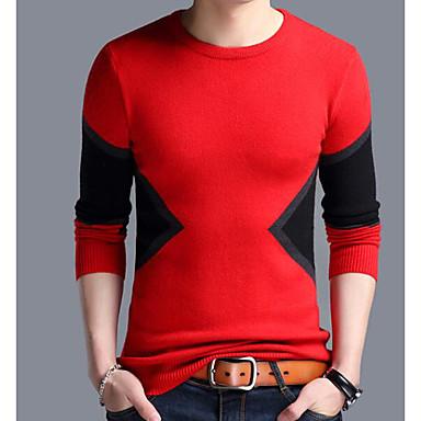بالغين XL / XXL / XXXL أسود / أحمر رقبة دائرية بوليستر, جاكيت صوف عادية عادي كم طويل ألوان متناوبة أساسي مناسب للبس اليومي رجالي