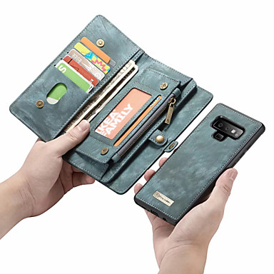 voordelige Galaxy Note-serie hoesjes / covers-CaseMe hoesje Voor Samsung Galaxy Note 9 / Note 8 Portemonnee / Kaarthouder / Flip Volledig hoesje Effen Hard PU-nahka voor Note 9 / Note 8