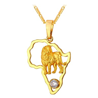 economico Collana-Per donna Zirconi Collane con ciondolo Zodiaco Con animale Leo Donne Di tendenza africano Rame Oro Argento 55 cm Collana Gioielli 1pc Per Regalo Quotidiano