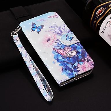 غطاء من أجل Samsung Galaxy Note 9 محفظة / حامل البطاقات / مع حامل غطاء كامل للجسم فراشة قاسي جلد PU