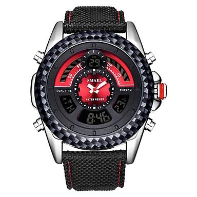 זול שעוני גברים-SMAEL בגדי ריקוד גברים שעוני ספורט שעון דיגיטלי Japanese קוורץ יפני ניילון שחור 30 m עמיד במים לוח שנה כרונוגרף אנלוגי-דיגיטלי אופנתי - שחור שחור / אדום / שעון עצר / זוהר בחושך