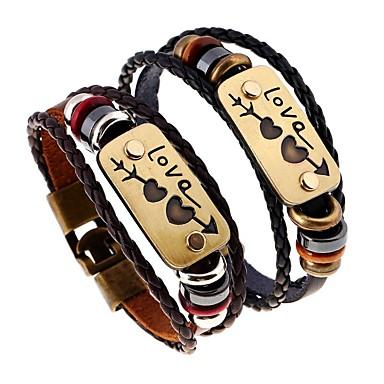 voordelige Heren Armband-Heren Kralenarmband Lederen armbanden Gevlochten Gegraveerd Sweetheart Letter Artistiek Vlechtwerk Armband sieraden Zwart / Bruin Voor Straat