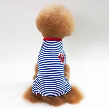 Honden Katten Pyjama Hondenkleding Gestreept Rood Blauw Zwart Katoen Kostuum Voor Bichon Frise Schnauzer Pekinees Lente Herfst Unisex Casual / Dagelijks Eenvoudige Stijl