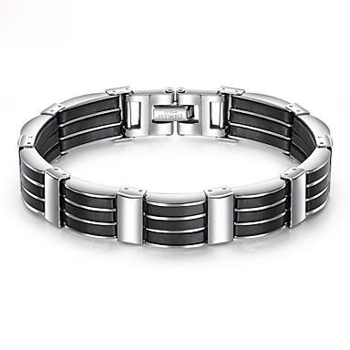 voordelige Heren Armband-Heren Armband Dikke ketting Uniek ontwerp modieus Initial Roestvast staal Armband sieraden Zwart Voor Straat / Siliconen / Titanium Staal / Platina Verguld