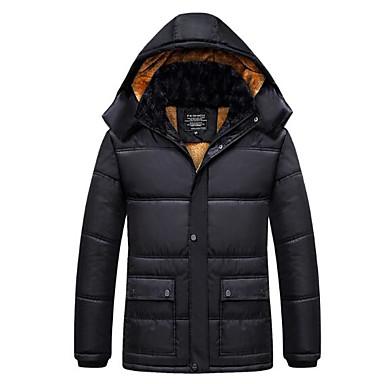 economico Abbigliamento uomo-Per uomo Per uscire Tinta unita Standard Imbottito, Poliestere Manica lunga Inverno Colletto alla coreana Nero XXXL / 4XL / XXXXXL