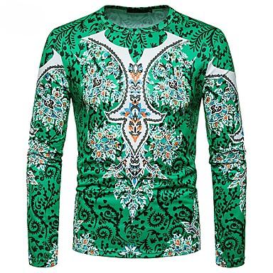 economico Abbigliamento uomo-T-shirt Per uomo Essenziale / Boho Con stampe, Monocolore / Tribale Rotonda - Cotone Viola L / Manica lunga