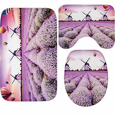 3 قطعات زهري مماسح الحمام 100g / m2 البوليستر الإمتداد حك طباعة زهور غير منتظم تصميم جديد