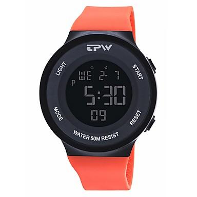 levne Pánské-Pánské Sportovní hodinky Digitální hodinky Digitální Silikon Černá / Orange / Tyrkysová 50 m Kalendář Stopky Svítící Digitální Módní Barevná - Oranžová Modrá Světle modrá Jeden rok Životnost baterie