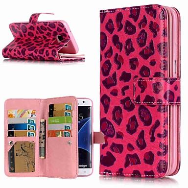 Недорогие Чехлы и кейсы для Galaxy S6-Кейс для Назначение SSamsung Galaxy S9 / S9 Plus / S8 Plus Кошелек / Бумажник для карт / со стендом Чехол Леопардовый принт Твердый Кожа PU