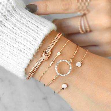 2084ac784 cheap Bracelets-4pcs Women's Cubic Zirconia Bracelet Bangles Cuff  Bracelet Twisted