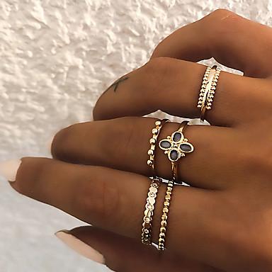 billige Damesmykker-Dame Knokering / Ring Set / Multi-fingerring 5pcs Gull / Sølv Harpiks / Fuskediamant / Legering Sirkelformet damer / Vintage / Punk Gave / Daglig / Gate Kostyme smykker
