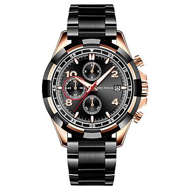 levne Pánské-MINI FOCUS Pánské Náramkové hodinky Křemenný Nerez Černá / Modrá / Zlatá 30 m Kalendář Stopky Svítící Analogové Luxus Módní - Modrá stříbrná / černá Černá / Růžové zlato Jeden rok Životnost baterie