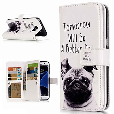 Недорогие Чехлы и кейсы для Galaxy S3-Кейс для Назначение SSamsung Galaxy S9 / S9 Plus / S8 Plus Кошелек / Бумажник для карт / со стендом Чехол С собакой Твердый Кожа PU
