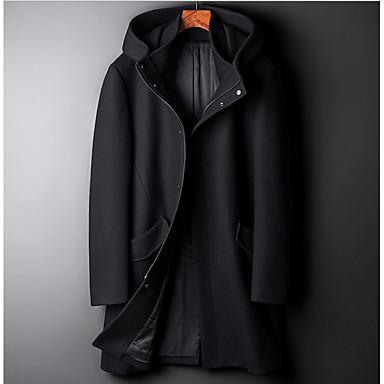 billige Herrers Mode Beklædning-Herre Daglig Gade Normal Frakke, Ensfarvet Hætte Langærmet Polyester Grøn / Sort XL / XXL / XXXL