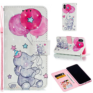 voordelige iPhone 6 hoesjes-hoesje Voor Apple iPhone XS / iPhone XR / iPhone XS Max Portemonnee / Kaarthouder / met standaard Volledig hoesje Cartoon / Balloon / Olifant Hard PU-nahka