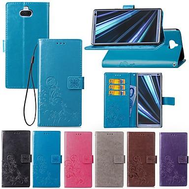 voordelige Hoesjes / covers voor Sony-hoesje Voor Sony Sony XA2 Plus / Xperia XZ2 / Xperia XZ2 Compact Kaarthouder / met standaard / Flip Volledig hoesje Effen / Vlinder Hard tekstiili